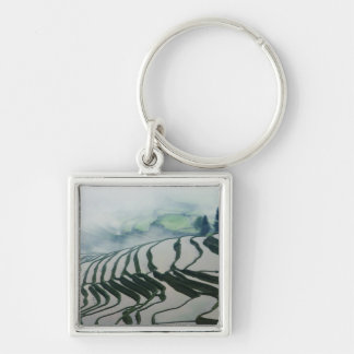 Morning Fog Above Rice Fields Silver-Colored Square Key Ring