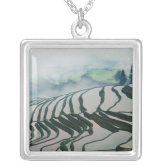 Morning Fog Above Rice Fields Silver Plated Necklace