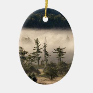 Morning Fog in the Adirondacks Ceramic Oval Decoration