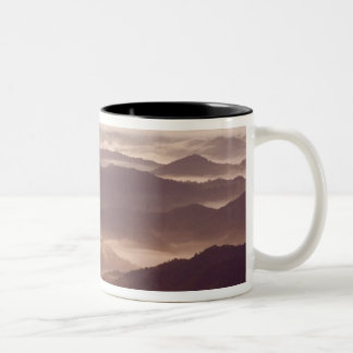 Morning fog in the southern Appalachian Two-Tone Coffee Mug