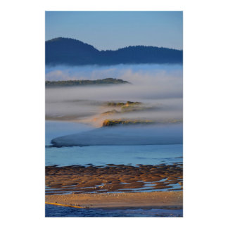 Morning fog over Netarts Bay, OR Poster