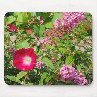 morning glories and butterfly bush mousepad