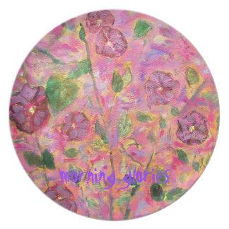 morning glories art plate