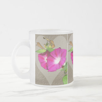 Morning Glory and Heart Frosted Glass Mug
