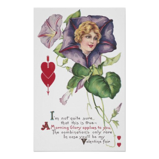 Morning Glory Lady Vintage Valentine Posters