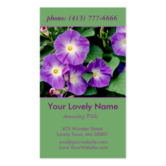 Morning Glory, Purple Violet Flowers Green Leaves Pack Of Standard Business Cards