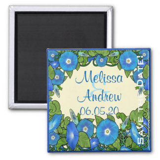 Morning Glory Scroll 2 Inch Square Magnet