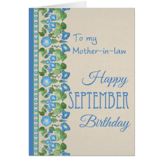 Morning Glory September Birthday: Mother-in-law Greeting Card
