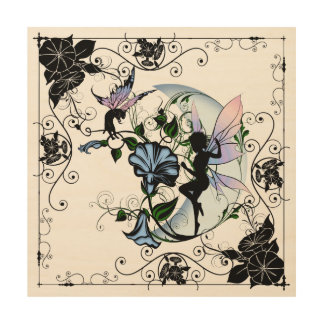Morning Glory Shadow Fairy and Cosmic Cat Wood Print