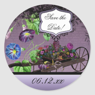 Morning Glory Summer Save the Date Round Stickers