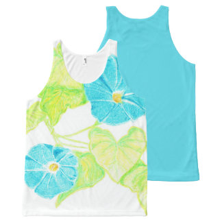 Morning Glory Tank Top w/ Blue Back All-Over Print Tank Top
