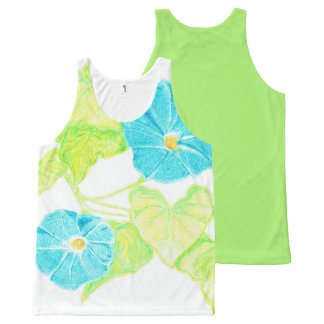 Morning Glory Tank Top w/ Green Back All-Over Print Tank Top