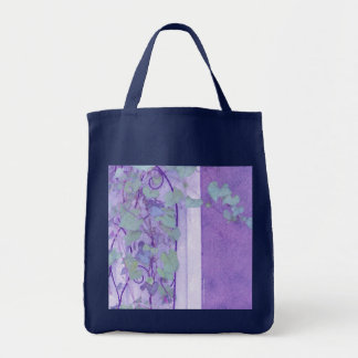 Morning Glory Trellis Purple Green Grocery Tote Bag