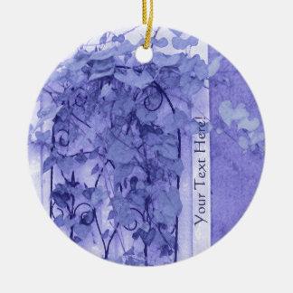 Morning Glory Trellis Violet Sketch Round Ceramic Decoration