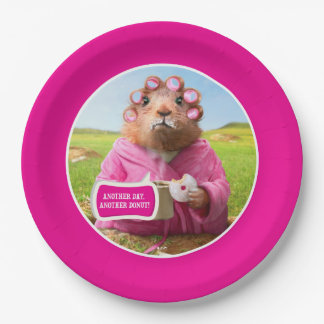 Morning Groundhog with Breakfast Donut and Coffee 9 Inch Paper Plate
