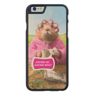 Morning Groundhog with Breakfast Donut and Coffee Carved Maple iPhone 6 Case