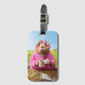Morning Groundhog with Breakfast Donut and Coffee Luggage Tag
