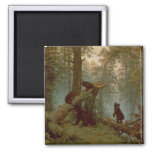 Morning in a Pine Forest, 1889 Square Magnet