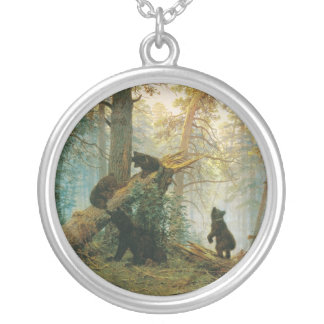 Morning in a Pine Forest by Ivan Shishkin Silver Plated Necklace