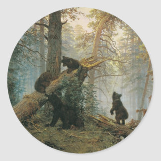 Morning in a Pine Forest Classic Round Sticker