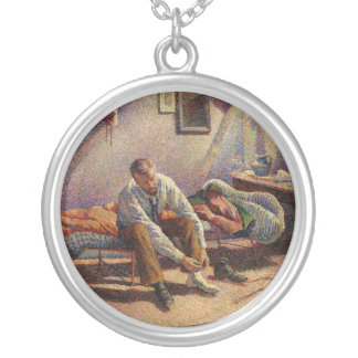Morning, Interior by Maximilien Luce in 1890 Round Pendant Necklace