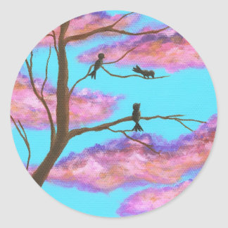 Morning Lessons Birdies In Tree Classic Round Sticker