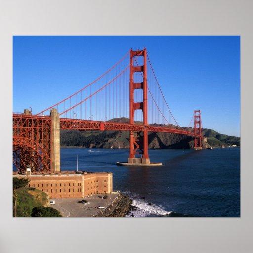Morning light bathes the Golden Gate Bridge Poster