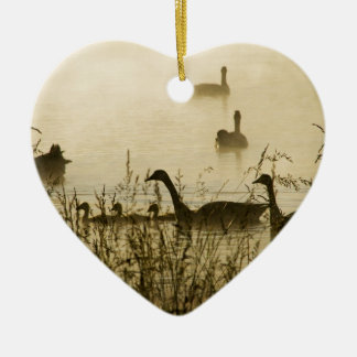 Morning Light Canadian Geese Pond Silhouette Ceramic Heart Decoration