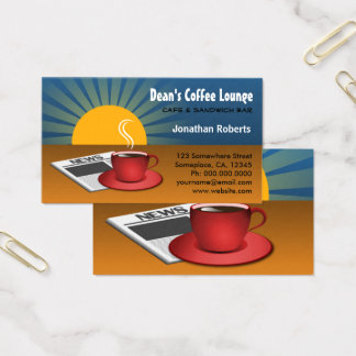 Morning News Sunrise Blue Brown Coffee Shop Cafe Business Card