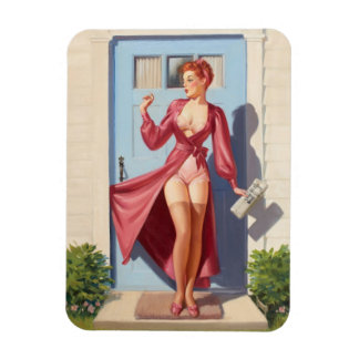 Morning Newspaper Pin-Up Girl Rectangular Photo Magnet