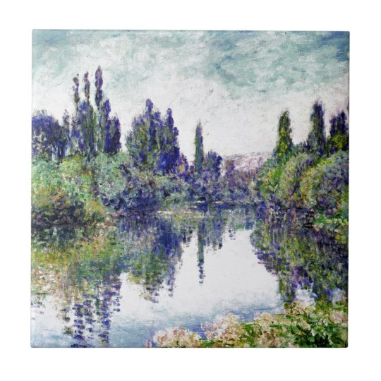 Morning on the Seine, near Vetheuil - Claude Monet Small Square Tile
