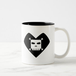 Morning Sorrows - Skull Heart Two-Tone Coffee Mug