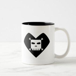 Morning Sorrows - Skull Heart Two-Tone Coffee Mug