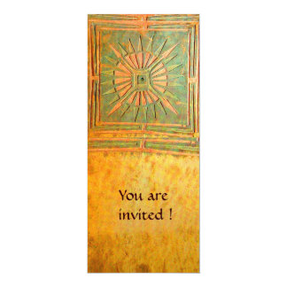 MORNING STAR , antique yellow brown green 10 Cm X 24 Cm Invitation Card
