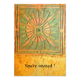 "MORNING STAR , antique yellow green,white 5"" X 7"" Invitation Card"