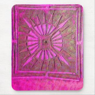 MORNING STAR Pink,Fuchsia Black, Monogram Mouse Pad