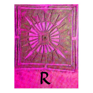 MORNING STAR Pink,Fuchsia Black, Monogram Post Card