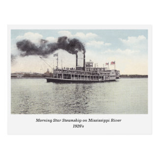 Morning Star Steamship on Mississippi old postcard