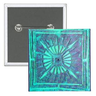 MORNING STAR,Turquase Blue Green ,Teal 15 Cm Square Badge