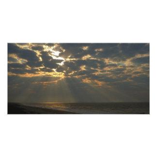 Morning Sun and Ocean - Oak Island, NC Customized Photo Card