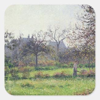 Morning Sun, Autumn, Eragny, 1897 Square Sticker