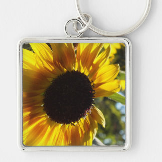 Morning Sunflower Customizable Silver-Colored Square Key Ring