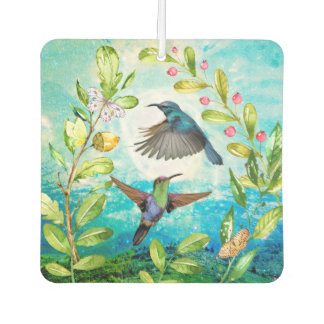Morning Sunrise Hummingbirds Scenic Nature Art