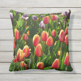 morning tulips outdoor pillow
