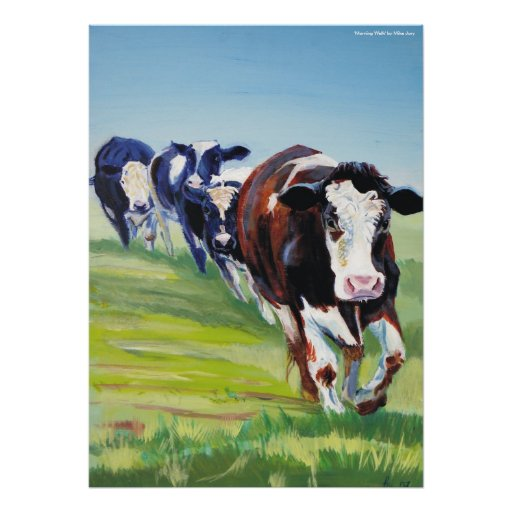 'Morning Walk'  Holstein Friesian cow painting Print