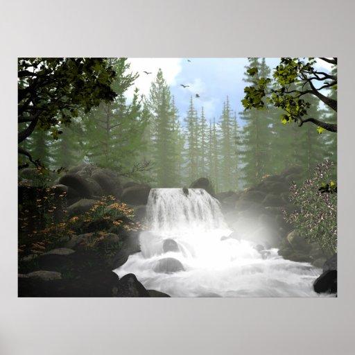 Morning Waterfall Poster