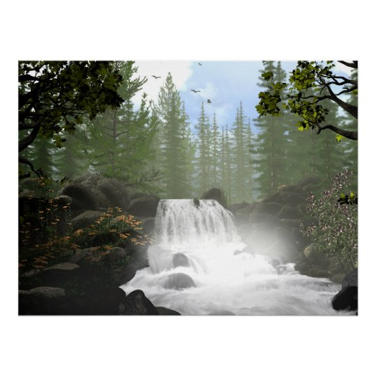 Morning Waterfall Poster
