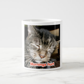 """Mornings Hurt with """"Captain"""" the FIV+ Cat Large Coffee Mug"""