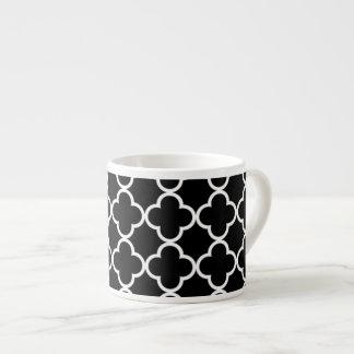 Moroccan Black White Quatrefoil Pattern Espresso Cup