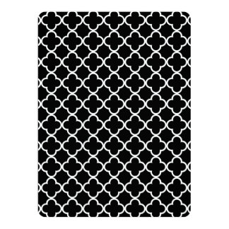 Moroccan Black White Quatrefoil Pattern Custom Announcement